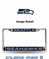 License Plate Frame - Laser-Cut Chrome - Car Truck SUV - Seattle Seahawks