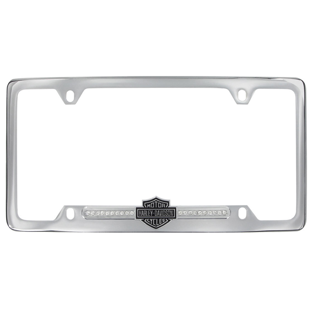 license plate frame metal car truck suv harley davidson bar shield swarovski crystals bottom