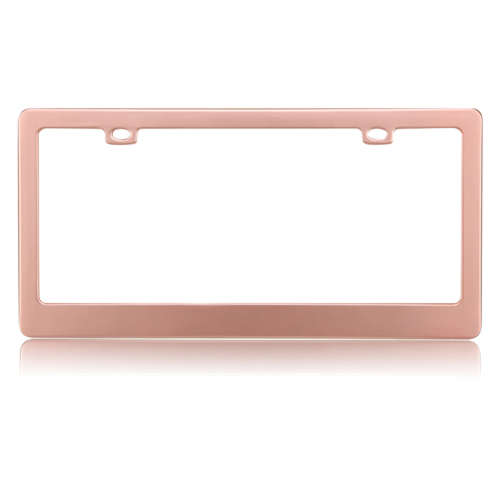 license plate frame metal car truck suv matte rose gold