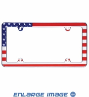 License Plate Frame - Plastic - Car Truck SUV - American Flag - Straight