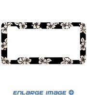 License Plate Frame - Plastic - Car Truck SUV - Hawaiian Hibiscus Flowers - Black