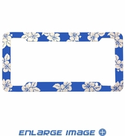 License Plate Frame - Plastic - Car Truck SUV - Hawaiian Hibiscus Flowers - Blue
