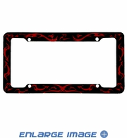 License Plate Frame - Plastic - Car Truck SUV - Red Flames on Black Background