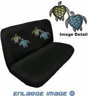 Rear Bench Seat Cover - Crystal Studded Rhinestone Bling - Car Truck SUV - Blue and Green Turtles with Stars and Hearts