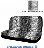 Rear Car Truck SUV Bench Seat Cover - Animal Print - Grey Snow Leopard