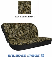 Rear Car Truck SUV Bench Seat Cover - Animal Print - Tan Zebra with Black Stripes