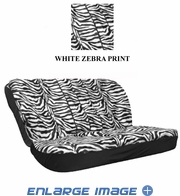 Rear Car Truck SUV Bench Seat Cover - Animal Print - White Zebra with Black Stripes