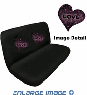 Rear Car Truck SUV Bench Seat Cover - Rhinestudded - Hearts Love - Pink