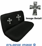 Rear Car Truck SUV Bench Seat Cover - Rhinestudded - High Cross Skulls - White