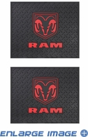 Rear Seat Utility Rubber Floor Mats - Dodge - Ram Logo - Pair