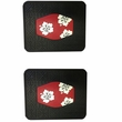 Rear Seat Utility Rubber Floor Mats - Hawaiian Hibiscus Flowers - Red - PAIR