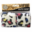 Rearview Mirror Fuzzy Dice - Car Truck SUV - Animal Print - Leopard - Rainbow