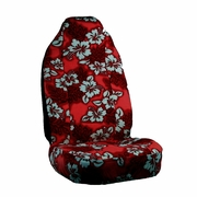 Red Hawaiian Flower Print Seat Covers