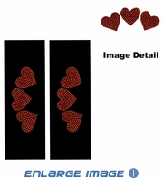 Seat Belt Shoulder Pad - Bling Crystals Studded Rhinestone - Red Hearts - pair