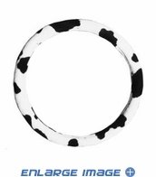 Steering Wheel Cover - Car Truck SUV - Elastic Scrunchie - Animal Print - Cow - White