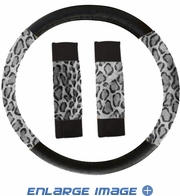 Steering Wheel Cover - Car Truck SUV - Mesh - Animal Print - Grey Leopard