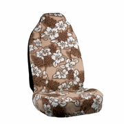Tan Brown Hawaiian Flower Print Seat Covers