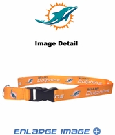 Team Logo Lanyard Keyring with Velcro closure - Miami Dolphins - Orange