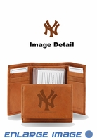 Wallet - Tri-Fold - Embroidered Leather - New York Yankees