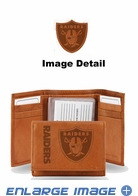 Wallet - Tri-Fold - Embroidered Leather - Oakland Raiders