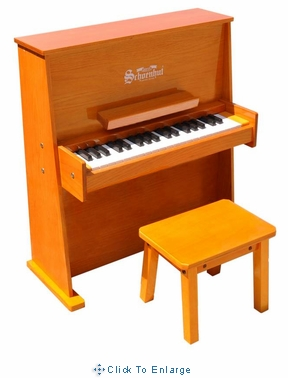 Children's Piano - 37 Key Daycare Durable Spinet piano w/Bench by Schoenhut, Black,White,Oak or Mahogany