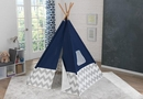 Deluxe play teepee in navy & gray chevron
