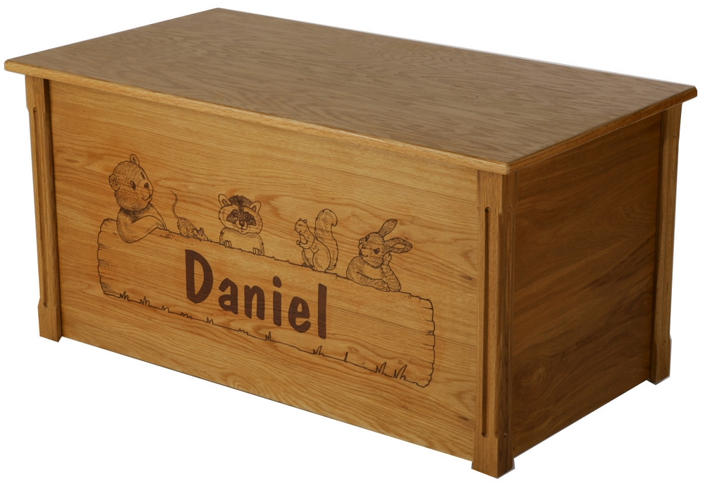 Childrens Jumbo Bedroom Room Tidy Toy Storage Chest Box Trunk: Dream Toy Box-Animal Critters Personalized Wooden Toy