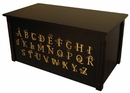 Handcrafted Espresso Wooden Toybox with full Alphabet-Made in USA