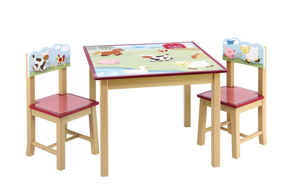 Guidecraft Farm Friends Kids Table & 2 Chairs Set Free