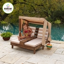 KidKraft Outdoor Wooden Double Chaise Lounger with Cup Holder, Oatmeal and White Strips