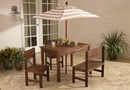 Kids outdoor patio set with beige & white stripes umbrella