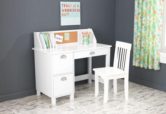 Student study desk Chair Set with side drawers - white-Free Shipping