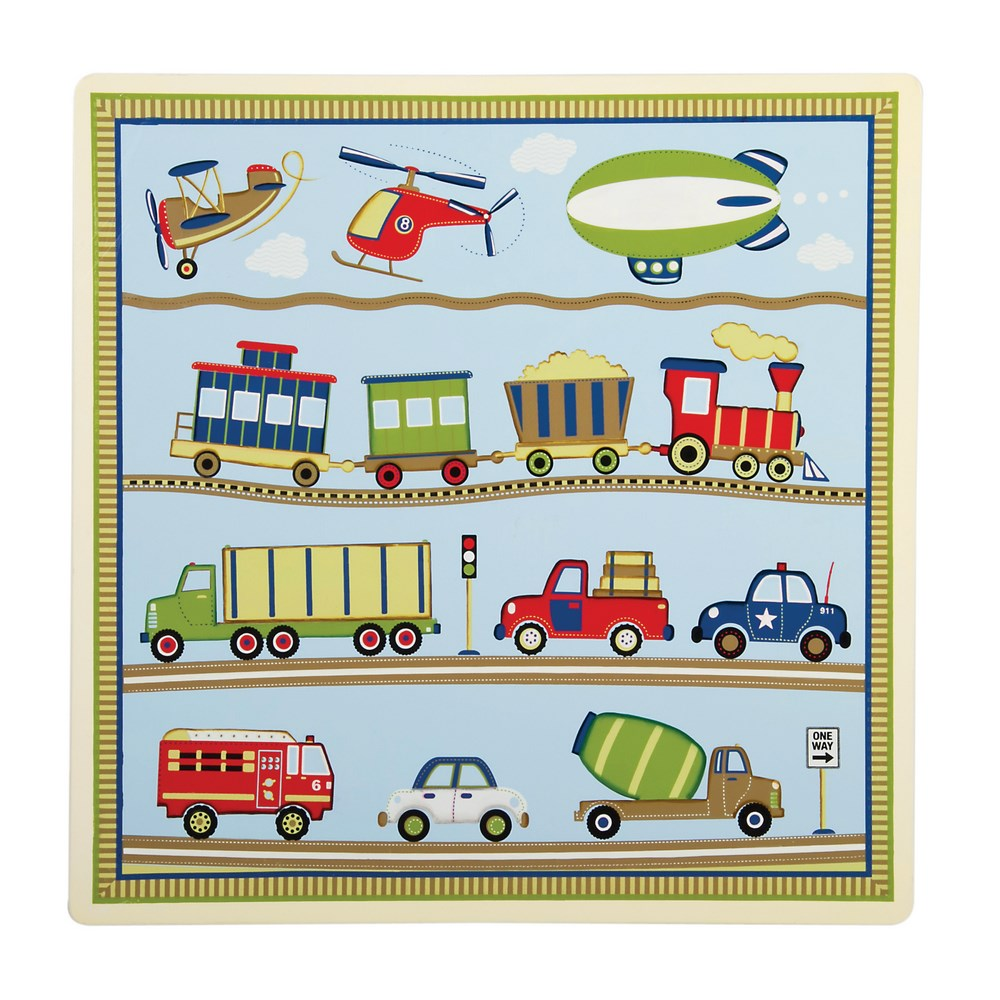 Transportation Themed Moving All Around Kids Table amp 2 Chairs Set Free Shipping
