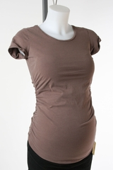 Brown Maternity T-shirt by A Pea in the Pod - Size Extra Small