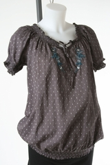 Cotton Maternity Top with Cute Embroidery at Neckline by Motherhood Maternity - Size Medium