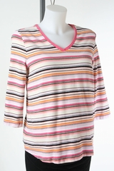 Pink Striped Long Sleeve Maternity Top by Liz Lange Maternity - Size Medium