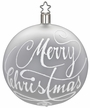 "3 1/4"" White Matte Merry Christmas Ornament by Inge Glas in Neustadt by Coburg"