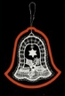 Lace Bell with Holly in Red Frame Ornament by Stickservice Patrick Vogel in OT Hammerbrücke
