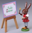 Frohe Ostern Easel Rabbit Wooden Figurine by Thomas Preissler