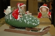 One of Kind Santa in Pinecone Sled Paper Mache Figurine by Werner Brauer in Hannover