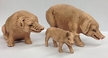 Pig Grouping, set of 3 Paper Mache Figurines by Marolin by Marolin