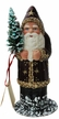 Santa, Burgundy Coat with Gold Stars Paper Mache Candy Container by Ino Schaller