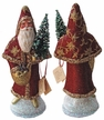 Santa, Red Glitter Coat with Gold Vine & Gemstones on Cape Paper Mache Candy Container by Ino Schaller