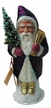 Santa, Purple Coat on White Base Paper Mache Candy Container by Ino Schaller