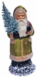 Santa in Green Coat with Stars Paper Mache Candy Container by Ino Schaller
