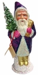 Purple Santa with Gold Shoes Paper Mache Candy Container by Ino Schaller