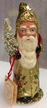 Gold Coat with Holly Decor Santa Paper Mache Candy Container by Ino Schaller