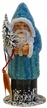 Aqua & Blue Beaded Santa Paper Mache Candy Container by Ino Schaller