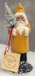 Yellow Beaded Santa Paper Mache Candy Container by Ino Schaller