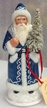 Dark Ice Blue Edged with White Beads Santa Paper Mache Candy Container by Ino Schaller
